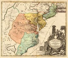 Virginia Marylandia et Carolina In America Septentrionali Britannorum industria exculta repraesentate - Barry Lawrence Ruderman Antique Maps Inc. Antique World Map, Antique Maps, Vintage World Maps, New Jersey, Maryland, Mid Atlantic States, Indian Tribes, Colonial America, Old Maps