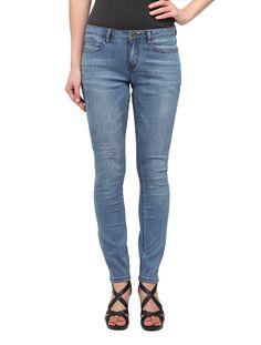 Iris (Distressed Plain Blue Skinny Jeans Mid-rise waist)