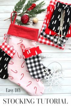 Easy DIY Christmas Stocking Pattern & Tutorial | Diary of a Quilter Quilting Tutorials, Sewing Tutorials, Sewing Crafts, Free Tutorials, Sewing Ideas, Quilting Ideas, Quilt Patterns, Tutorial Sewing, Simple Christmas