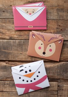 "Printable Holiday Envelopes: ""I think we can all agree that snail mail during the holidays is the best. Next to birthday mail, holiday mail is happily filled with bright envelopes, beautiful cards, smiling photos and notes from actual people! Noel Christmas, All Things Christmas, Winter Christmas, Holiday Crafts, Holiday Fun, Navidad Diy, Festa Party, Paper Crafts, Diy Crafts"