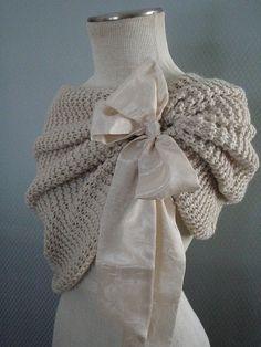 Bolero Off White   Bridal Shrug Bridal Shawl White by denizy03