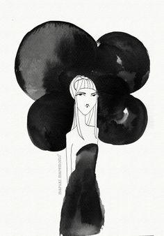 Hay días negros...pero las nubes pasan !! Todo es impermanente!! :: Ilustración Maruki Maremotto :: Plumilla