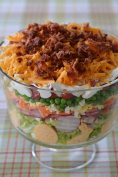 Layered Spring Salad! A make-ahead recipe for your potluck, family gathering or barbecue! | homeiswheretheboatis.net #Easter