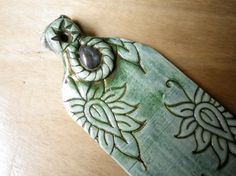 Teal green lotus polymer clay incense holder by nouveaushades, $34.00 - I love the lotus design.