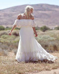 Plus Size Collection :: Boho Off Shoulder Lace & Chiffon Wedding Dress