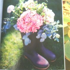 Flowers in wellie boots!!