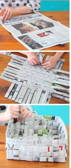 Super Ideas For Diy Paper Crafts Newspaper Basket Weaving Newspaper Basket, Newspaper Crafts, Newspaper Flowers, Recycle Newspaper, Fun Crafts, Diy And Crafts, Crafts For Kids, Fun Activities For Kids, Recycled Crafts