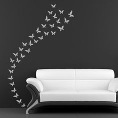 Flutter of Butterflies Swarm of Butterflies Wall Stickers Wall Art Decal