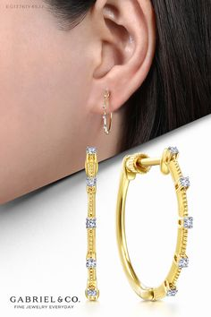 25mm Diameter 14k Tri-color Gold Moon-Cut Bead Hoop Earrings,