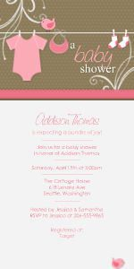 Mixbook Clothesline Baby - Pink Girls Baby Shower Invitations