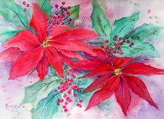 Watercolor of Red Poinsettias and Berries by Colorado Artist Martha KIsling