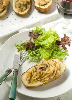 Horseradish Mushroom Twice Baked Potatoes - Gluten Free Dairy Free Vegan. Plus how to make the PERFCET baked potato