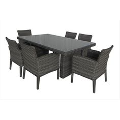 Gather friends and family around this all-weather wicker and aluminum dining set to enjoy a sunny Sunday brunch or cocktails under the stars.