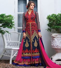 Blue #Georgette Embroidered Semi Stitched #Anarkali #Suit by #Lilots at #Indianroots