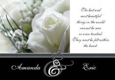 Framed White Rose 2 Engagement Invitation Card in Black  - Impressive Invitations