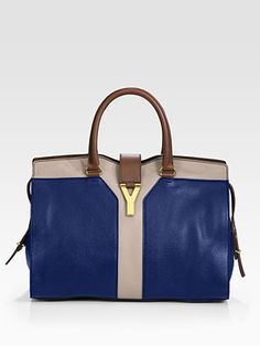 Yves Saint Laurent Colorblocked Cabas Chyc Large Leather East/West Bag