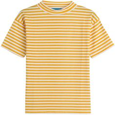 M i H Jeans Striped Cotton T-Shirt ($105) ❤ liked on Polyvore featuring tops, t-shirts, stripes, striped cotton tee, slim fit t shirts, slim fit tee, striped tee and yellow top