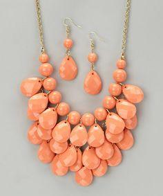 Coral Waterdrop Necklace & Earrings