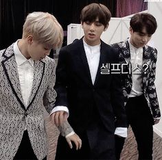 TaeTae protecting himself around bae ;) he knows that Kookie would kick Jimin's butt for touching him XD and right on schedule, Kookie looks over at the end
