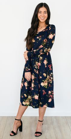 Linley Floral Dress - Navy