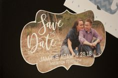 Fun Shaped Save the Date Photo Frame. Click through to find matching games, favors, thank you cards, inserts, decor, and more. Or shop our 1000+ designs for all of life's journeys. Weddings, birthdays, new babies, anniversaries, and more. Only at Aesthetic Journeys