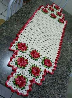 Crocheted Table or Floor Runner Crochet Squares, Crochet Motif, Crochet Doilies, Crochet Flowers, Crochet Stitches, Crochet Patterns, Crochet Cushion Cover, Crochet Cushions, Crochet Table Runner Pattern