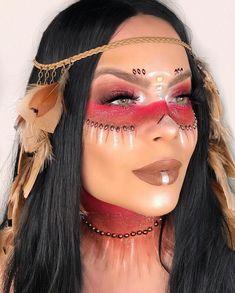A imagem pode conter: 1 pessoa, close-up Indian Makeup Halloween, Indian Halloween Costumes, Halloween Makeup Looks, Native American Halloween Costume, Halloween Images, Native American Makeup, Pocahontas Makeup, Bohemian Makeup, Coachella Makeup