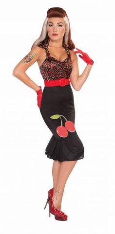 42053bdc8b3e15 Forum Retro Rock Cherry Anne Costume Dress, Black/Red, Small/X-Small Best  Halloween Costumes & Dresses USA