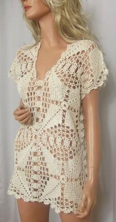 Captivating Crochet a Bodycon Dress Top Ideas. Dazzling Crochet a Bodycon Dress Top Ideas. Crochet Bodycon Dresses, Crochet Summer Dresses, Black Crochet Dress, Crochet Tunic Pattern, Crochet Blouse, Vest Pattern, Pull Crochet, Crochet Lace, Crochet Woman