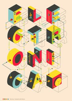 Exploded type - ELECTRONICA by Neil Stevens, via Behance