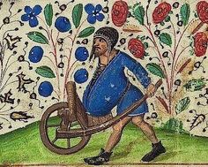 """Transporting his own belly in a wheelbarrow (Vatican, Pal. Medieval Crafts, Medieval Art, Medieval Manuscript, Illuminated Manuscript, Medieval World, Chivalry, Romanesque, Weird And Wonderful, Wheelbarrow"