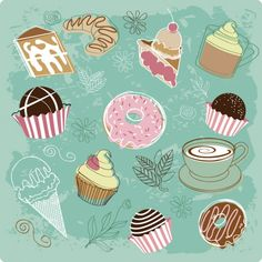 Painted bakery desserts vector set
