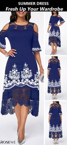 New sign-ups get off for all first orders add to your wardrobe→ Fashion Blue Chic Summer Spring Midi Fashion Crochet Detail Cold Shoulder Tribal Print Dress Women's Fashion Dresses, Dress Outfits, Cool Outfits, Dress Up, Fashion Styles, Celtic Dress, Tribal Print Dress, Classy Dress, Couture