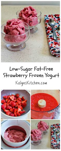 This Low-Sugar Fat-Free Strawberry Frozen Yogurt is kid approved, and it's so delicious you'll never miss the fat or sugar. [from KalynsKitchen.com] #LowSugar #FatFree #Summer