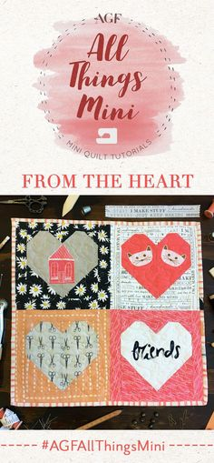 From the Heart Valentine Heart, Valentine Crafts, Valentines, Easy Quilts, Mini Quilts, Easy Quilt Patterns, Art Gallery Fabrics, Sewing Stitches, Sewing For Beginners