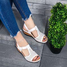 Sandale dama cu platforma albe Khira