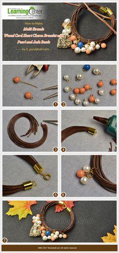 Multi Strands Waxed Cord Heart Charm Bracelet