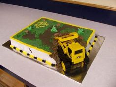 love the idea of the truck digging up the cake