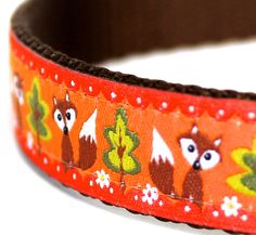 Orange Fox and Trees Dog Collar / Adjustable Dog Collar / European Ribbon by daydogdesigns on Etsy https://www.etsy.com/listing/182548573/orange-fox-and-trees-dog-collar