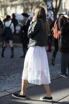 white midi skirt, leather jacket, black sneakers