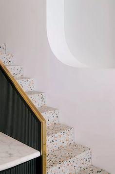 Terrazzo staircase in Paradiso Coffee Shop by NOMOS