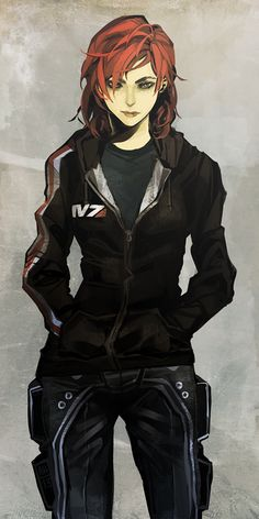 Obviously Mass Effect, but I can't help but think of an M-Girl Traveller character. Casual Shepard by Arlmuffin on deviantART