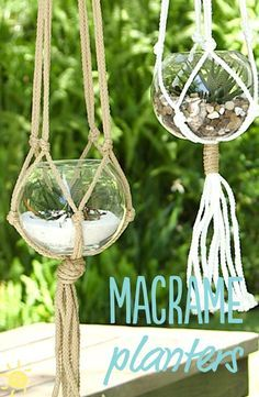 DIY   5 Minute Macrame Planters. Watch What's Up Mom's Brooke and our very own Cinda show you how to make these adorable macrame plant hangers in less than 5 minutes.