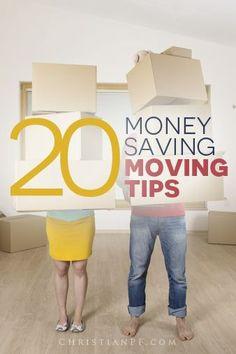 20 #moving tips to save money - http://christianpf.com/money-saving-moving-tips/ best money saving tips #SaveMoney #Money