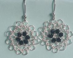 Items similar to Silver crochet wire earrings.Handmade wire crochet jewelry on Etsy Wire Wrapped Earrings, Wire Earrings, Wire Wrapped Pendant, Crochet Earrings, Diy Jewelry, Jewelery, Handmade Jewelry, Unique Jewelry, Wire Jewelry Patterns