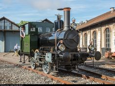 """The first time presented to the public after 16 years of restauration by the owner (in the cab): Steam cogwheel locomotive """"Caspar Honegger"""", built in 1877 by Maschinenfabrik Aarau for the factory of Honegger in Rüti, which had a rack connecting track to the station. The little engine weighs 15 tons, has about 125 HP and was in service for the machine factory Rüti till 1951."""