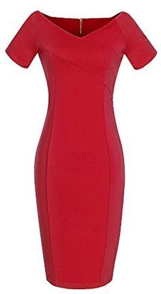 HOMEYEE® Women's V-Neck OL Career Bodycon Party Pencil Dress U378 (8, Red)