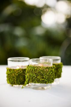 Moss covered votives //// Photo by Pen Carlson Photography via Project Wedding