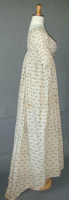 Robe, mousseline de coton imprimée au rouleau, vers 1800, Angleterre,  Meg Andrew).
