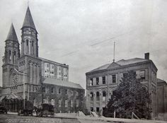 Atlanta: circa 1920 photograph of Sacred Heart Church, located at 335 Peachtree Center Avenue (formerly Ivy Street).   Designed by W. T. Downing, the church,  Downing's first major public work, was completed in 1897.